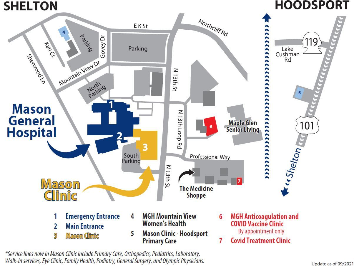 Map with treatment and vaccine clinic