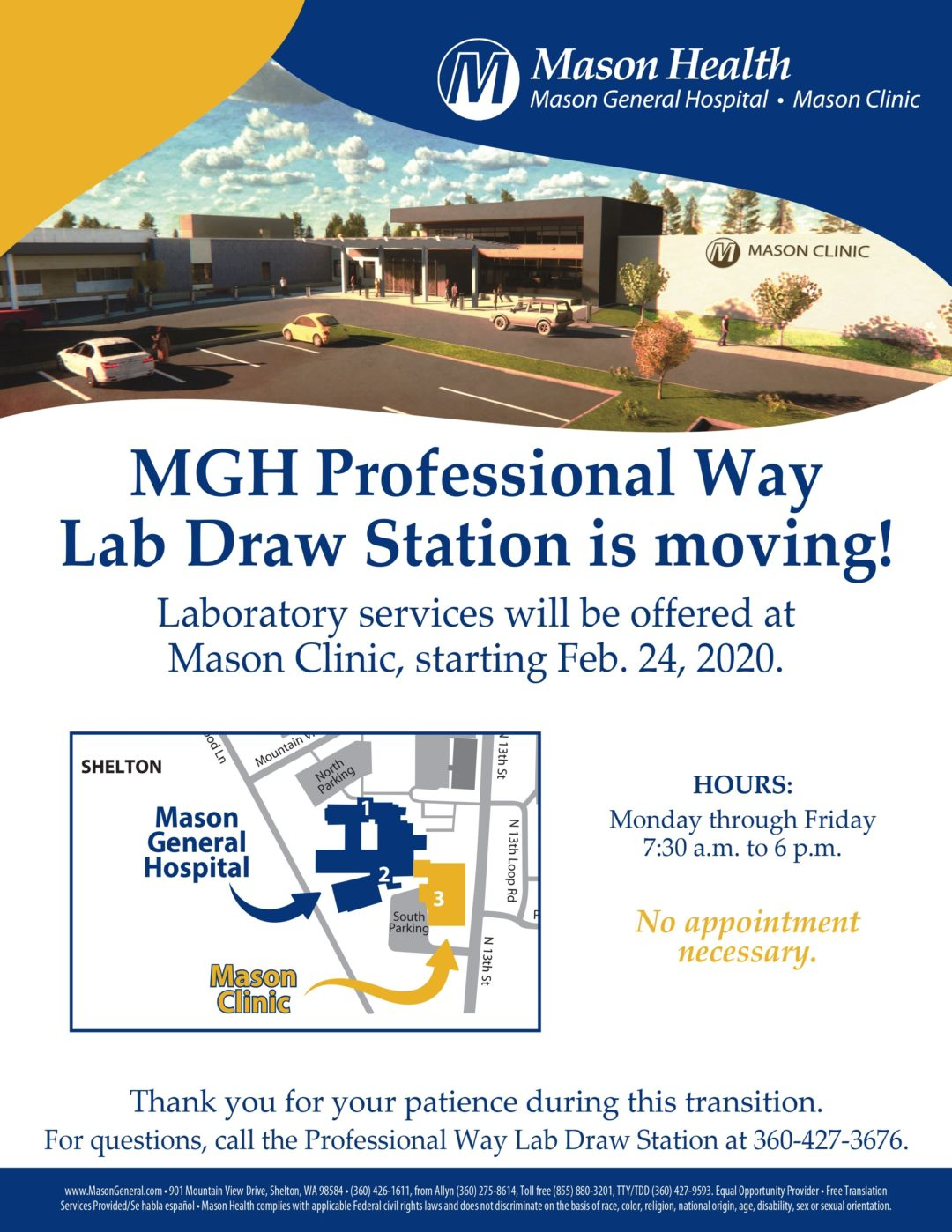 Lab Draw Station Is Moving Flyer With Updated Hours